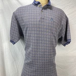 Izod Casual Golf Polo Mostly Blue Diagonal Plaid